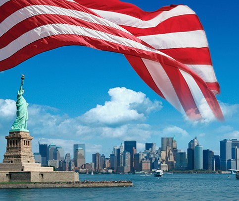 US flag and statue of Liberty