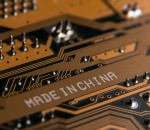 87255498 - made in china. macro of a white inscription on an electrical board.
