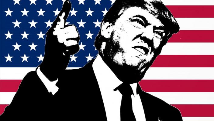 73736576 - trump illustration in american flag